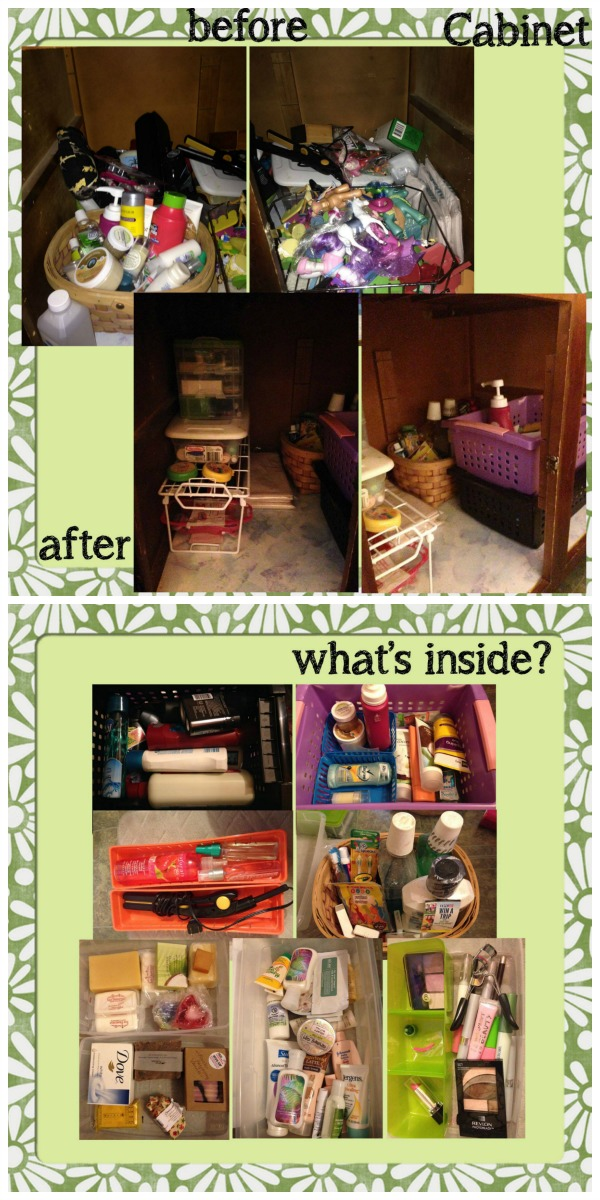 Before and after of decluttered bathroom cabinets, plus what was held in the various storage containers {featured on Home Storage Solutions 101}