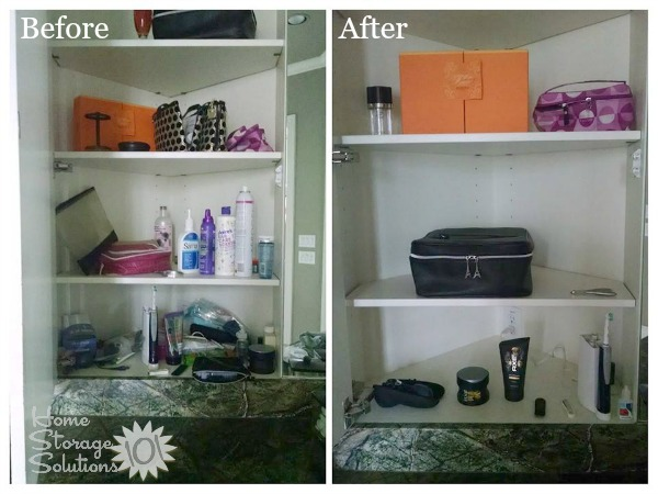 Before and after when a reader, Laurie, decluttered her bathroom cabinet {featured on Home Storage Solutions 101}