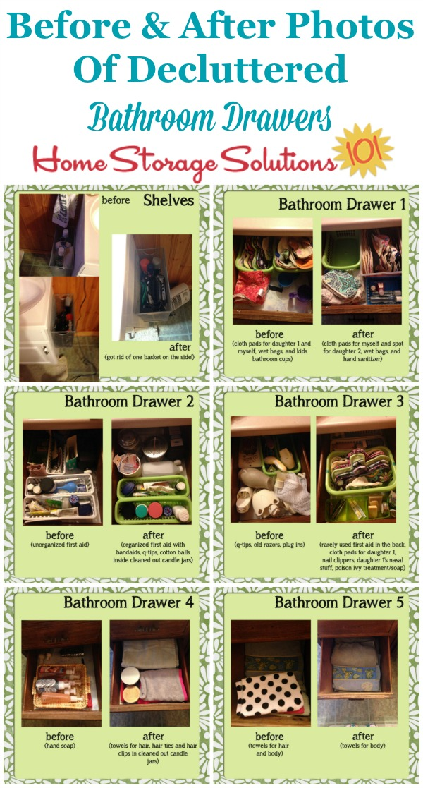 Lots of before and after photos of decluttered bathroom drawers, plus how to get rid of bathroom drawer clutter {on Home Storage Solutions 101}
