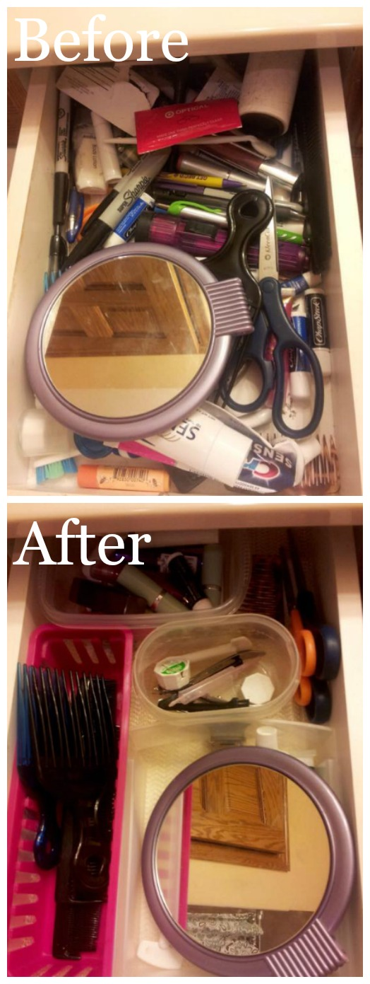 Before and after from a reader, Cris, who did the declutter bathroom drawers #Declutter365 mission {featured on Home Storage Solutions 101}