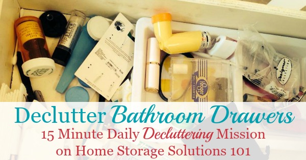 How to declutter bathroom drawers, plus lots of before and after photos to get you inspired to tackle this job in your own home {on Home Storage Solutions 101}