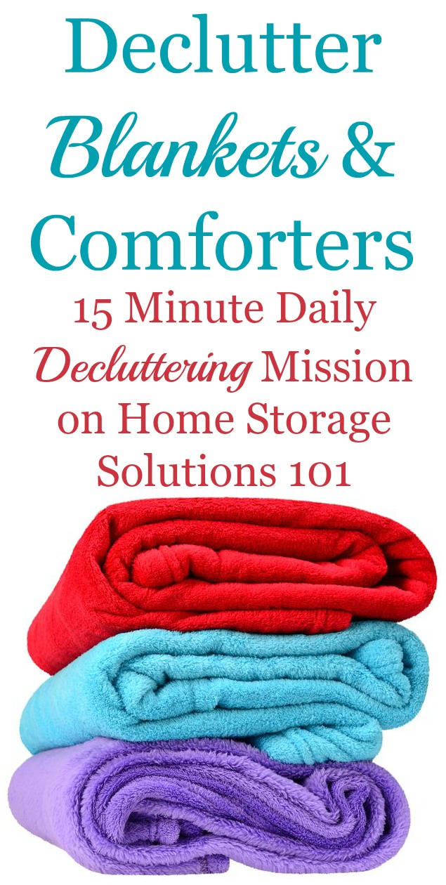 How to declutter blankets, comforters and throws, including guidance on how many blankets to keep, and what to do with the ones you get rid of {a #Declutter365 mission on Home Storage Solutions 101} #DeclutterBlankets #Declutter