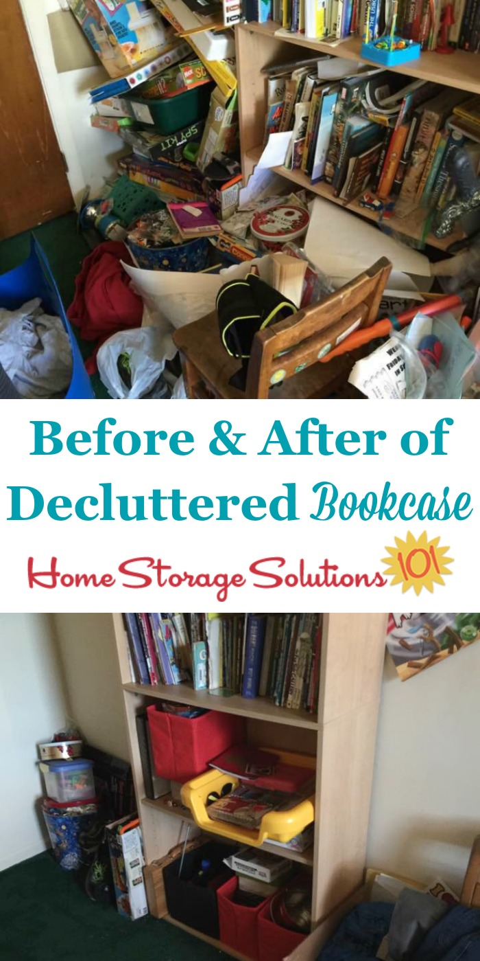 Before and after photos of decluttered bookcase {featured on Home Storage Solutions 101} #Declutter365 #ClutterControl #Declutter