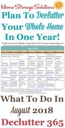 August 2018 Declutter Calendar