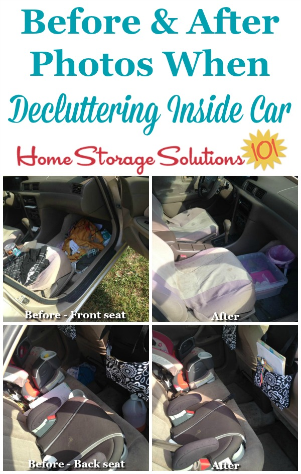 Before and after photos of both the front and back seats from a reader, Brandy, who did the Declutter 365 mission to remove clutter and trash from the car's interior {featured on Home Storage Solutions 101}