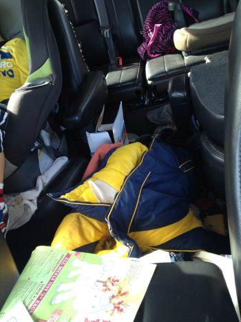 car interior clutter