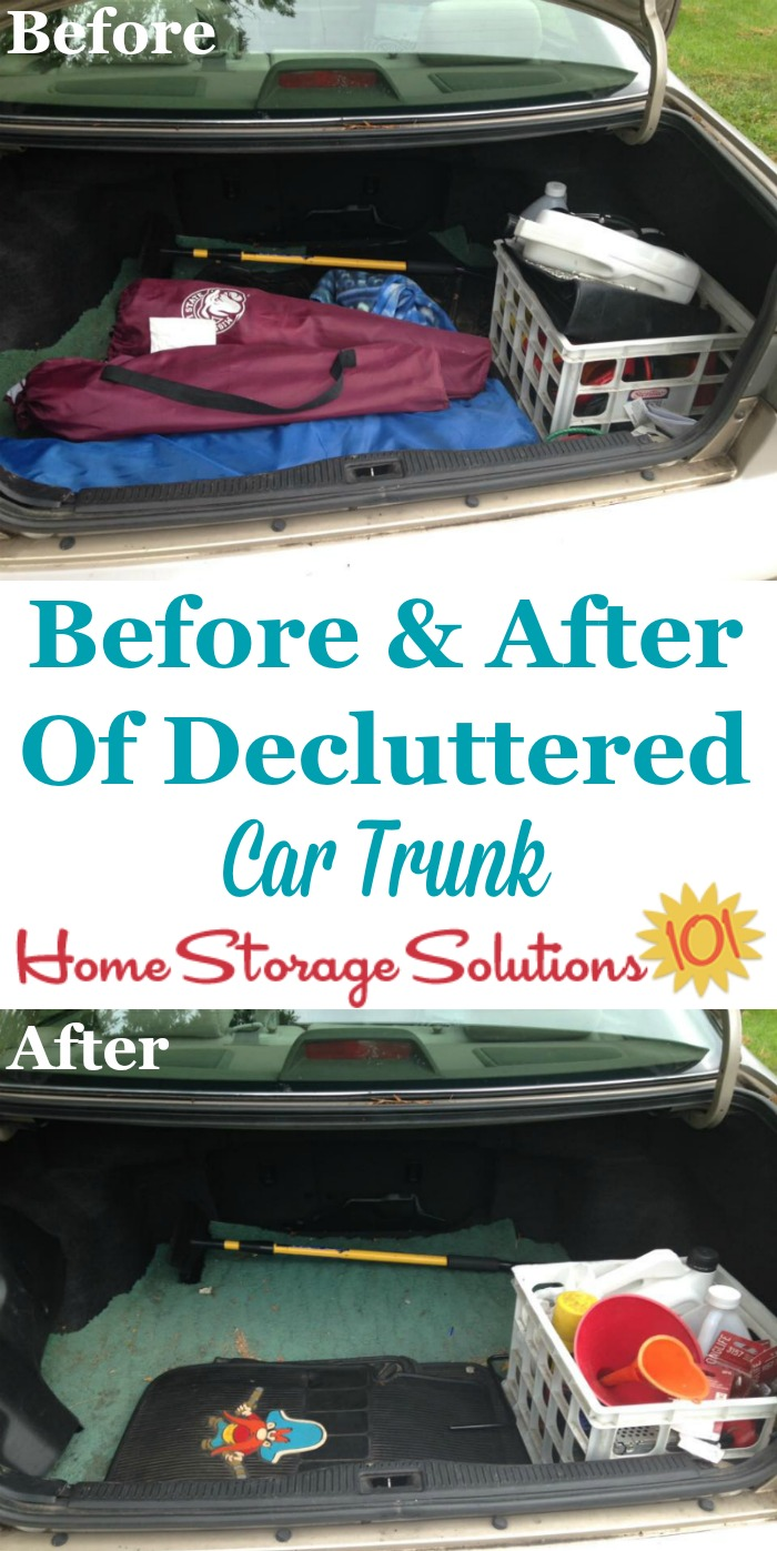 Before and after photos when declutter car trunk, plus a list of items to store in your trunk from now on for convenience and emergencies {on Home Storage Solutions 101}
