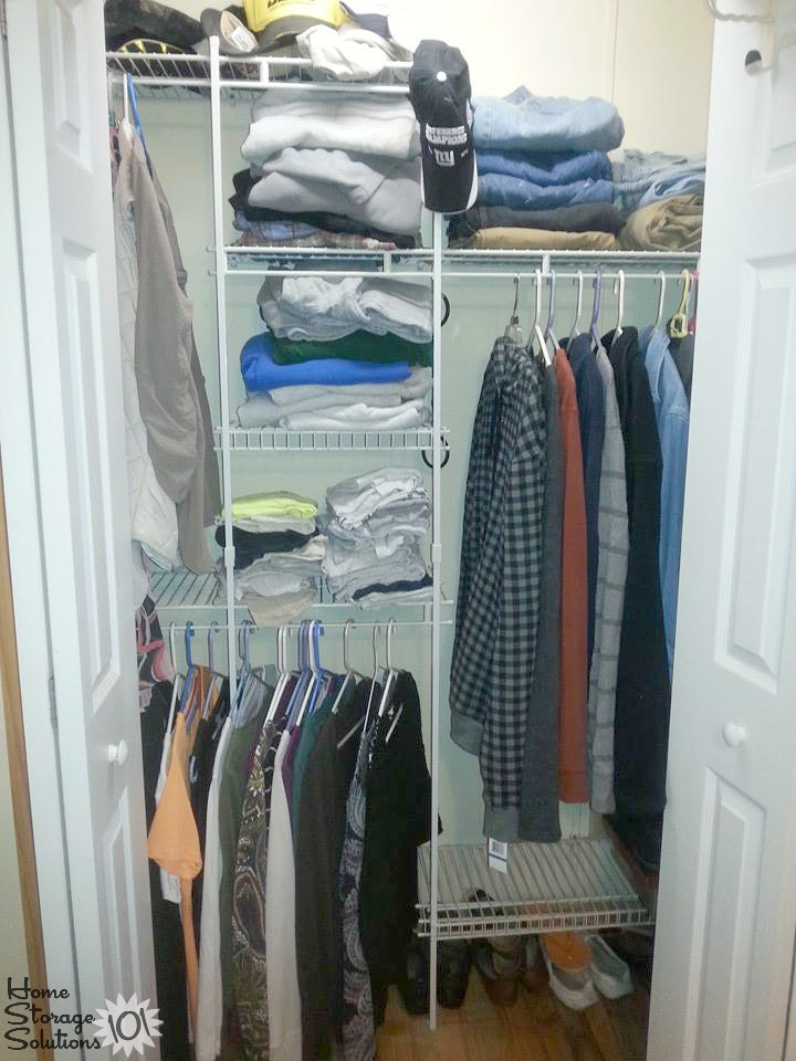 Decluttered closet shelves and hanging clothes, from a reader, Lorraine, featured on Home Storage Solutions 101