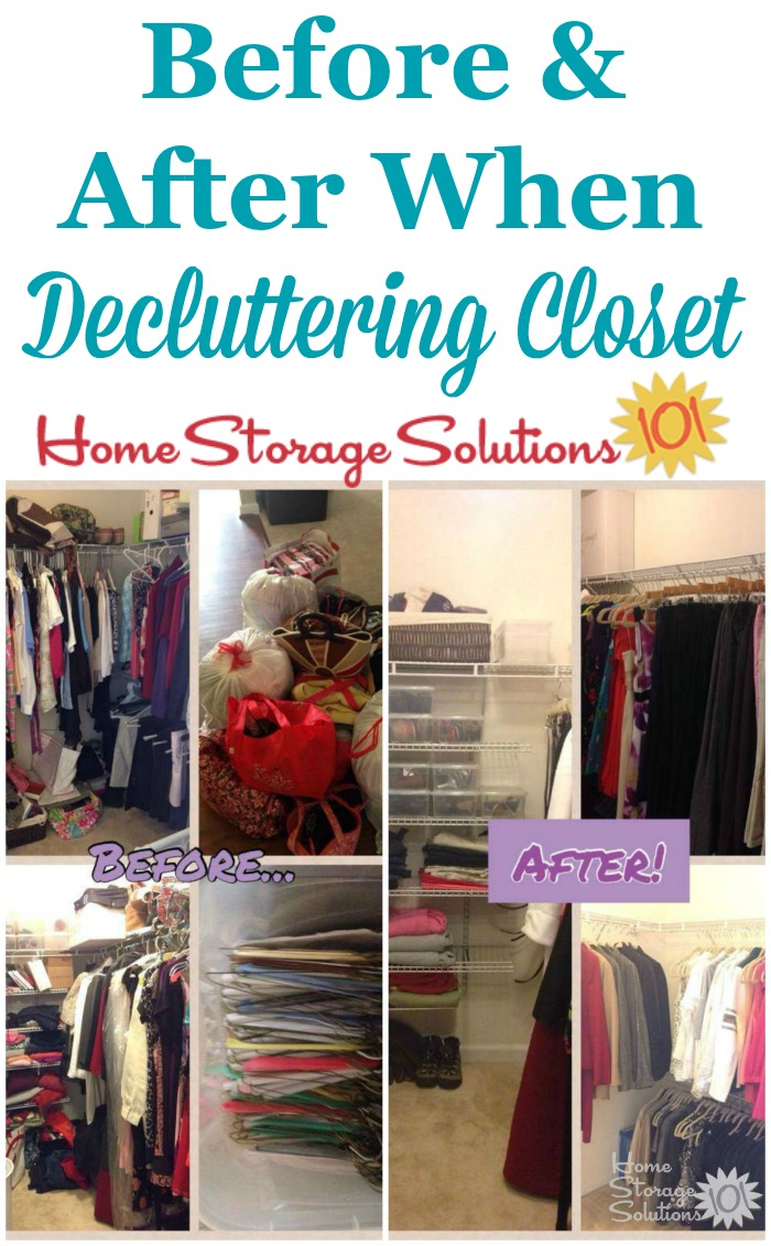 How to declutter your closet, including the amazing results once you've gotten rid of the clutter and are free to just organize the important stuff you have left {featured on Home Storage Solutions 101}