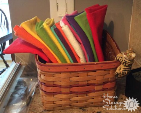 Hold your everyday use cloth napkins in basket to keep them handy and all in one place {featured on Home Storage Solutions 101}