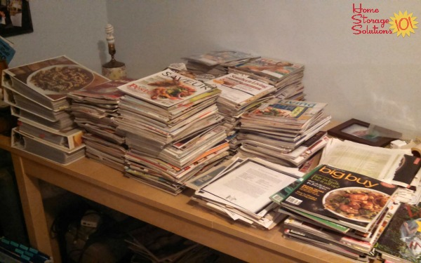Lots of cooking magazines in the process of reviewing for decluttering {featured on Home Storage Solutions 101}