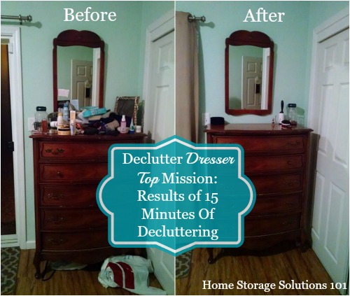 Amanda's before and after of her declutter dresser top mission {on Home  Storage Solutions 101 ...