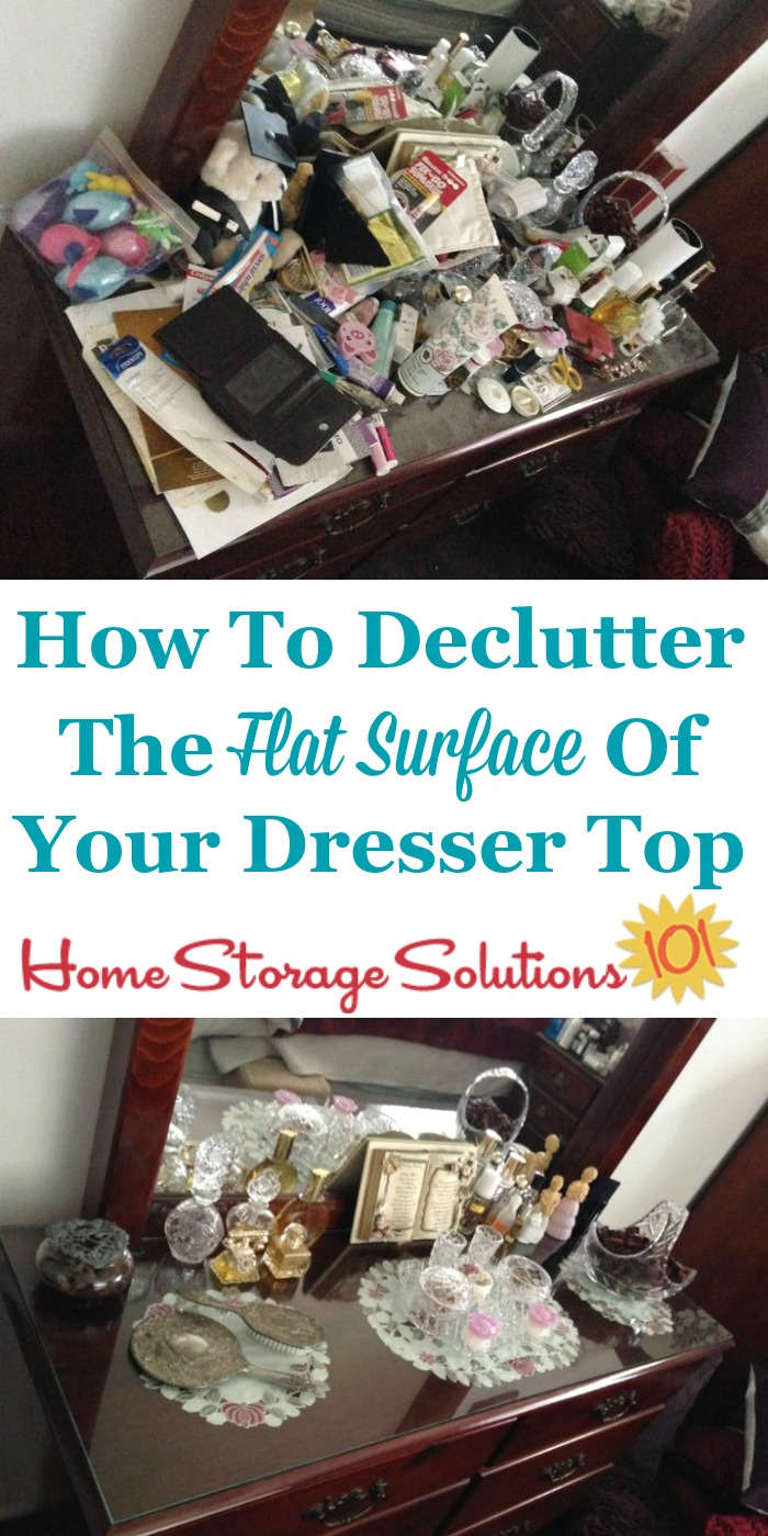 How to declutter the flat surfaces of your bedroom, including your dresser top, including lots of before and after photos from others who've done this Declutter 365 mission {on Home Storage Solutions 101}