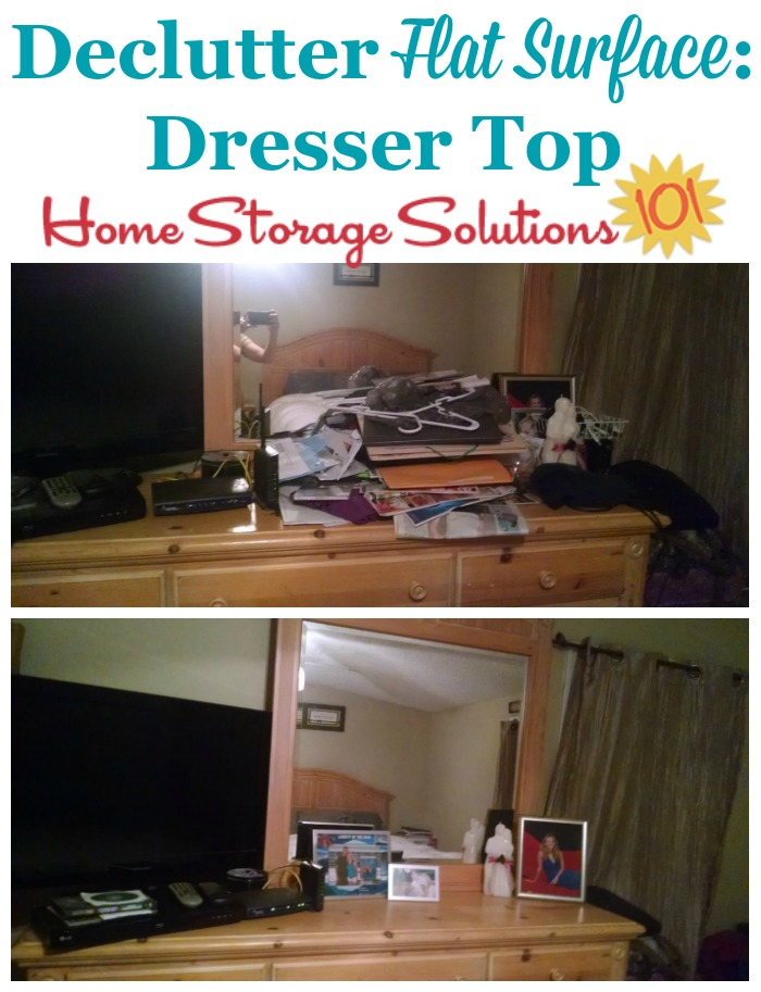 Before and after when declutter the flat surface of the dresser top in the bedroom {featured on Home Storage Solutions 101}