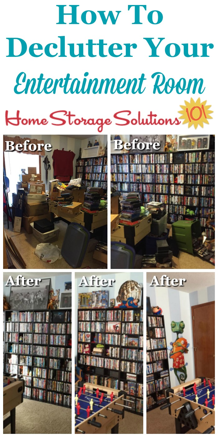 How to #declutter your entertainment room or entertainment center, with before and after photos and tips {on Home Storage Solutions 101} #Declutter365 #decluttering