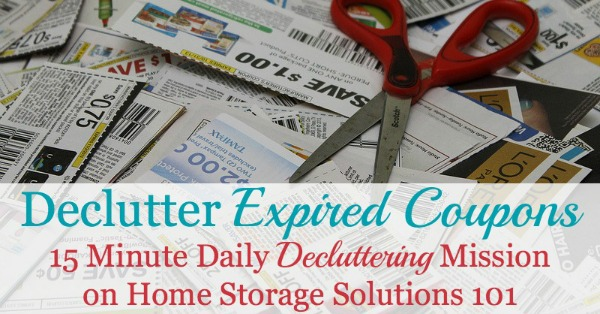 How to #declutter expired coupons from around your home, plus tips for how to avoid accumulating too many of these old coupons from now on {a #Declutter365 mission on Home Storage Solutions 101} #Couponing