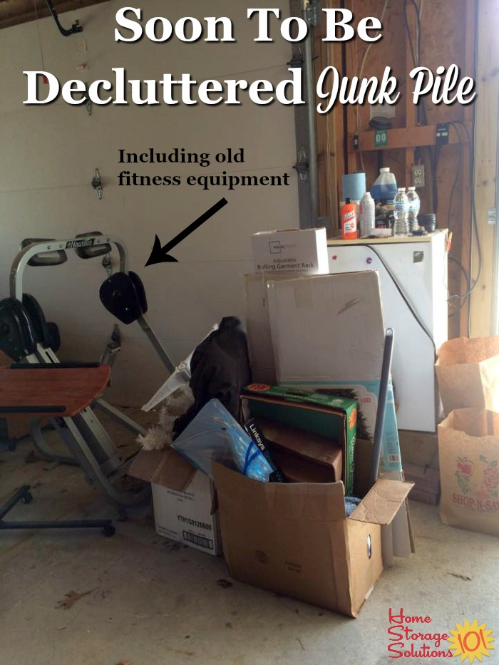Junk pile, including old fitness equipment, that is gathered for #decluttering {part of the #Declutter365 missions on Home Storage Solutions 101}