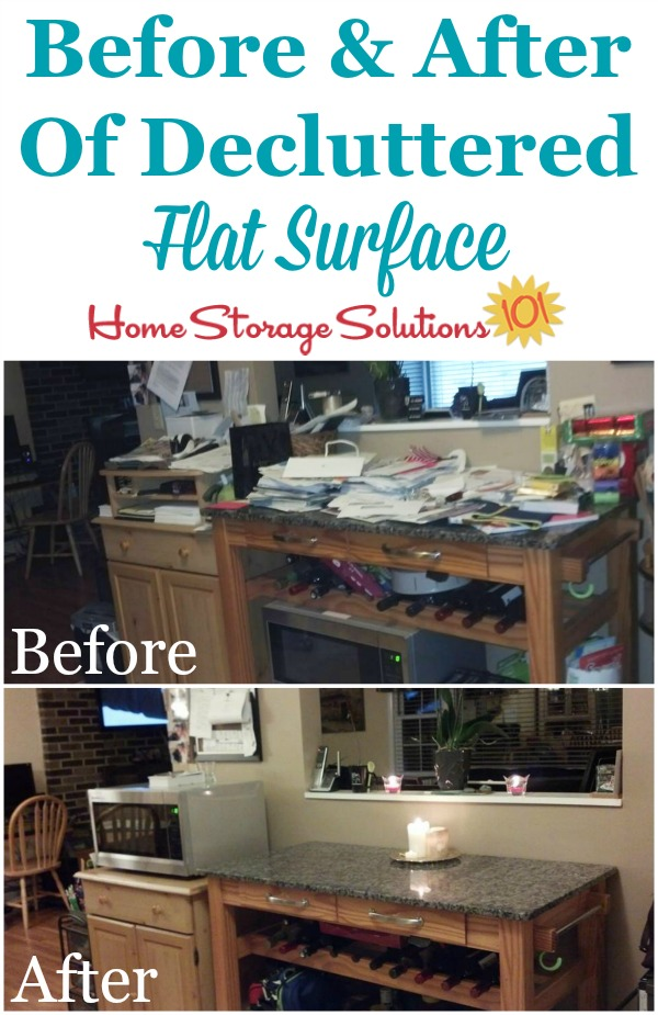Before and after photos from Sandra, who decluttered her problem flat surface, a kitchen island {featured on Home Storage Solutions 101}