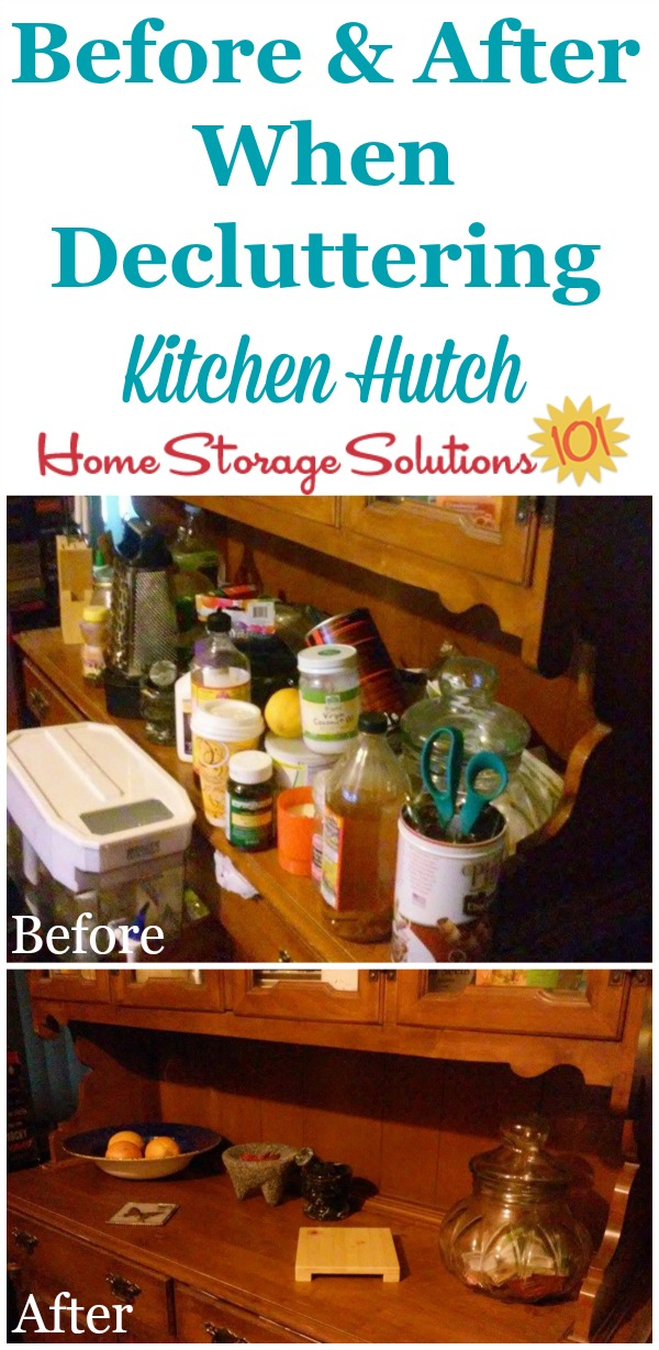 Before and after photos from Teresa who decluttered her problem flat surface, her kitchen hutch {featured on Home Storage Solutions 101}