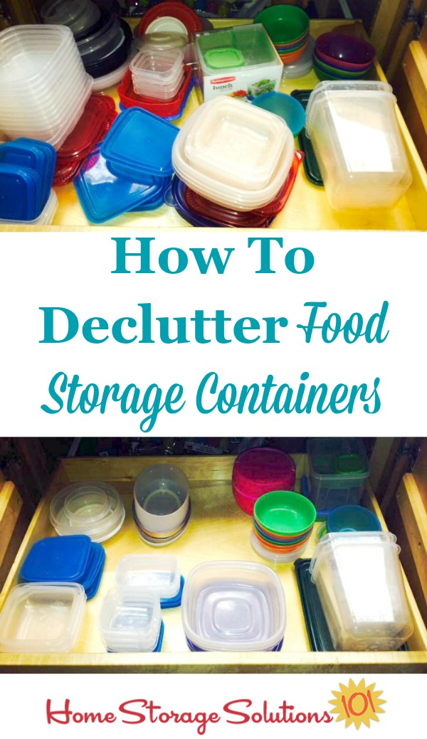 How to declutter your food storage containers, including rules of thumb about how many containers to keep and which to get rid of {part of the #Declutter365 missions on Home Storage Solutions 101}
