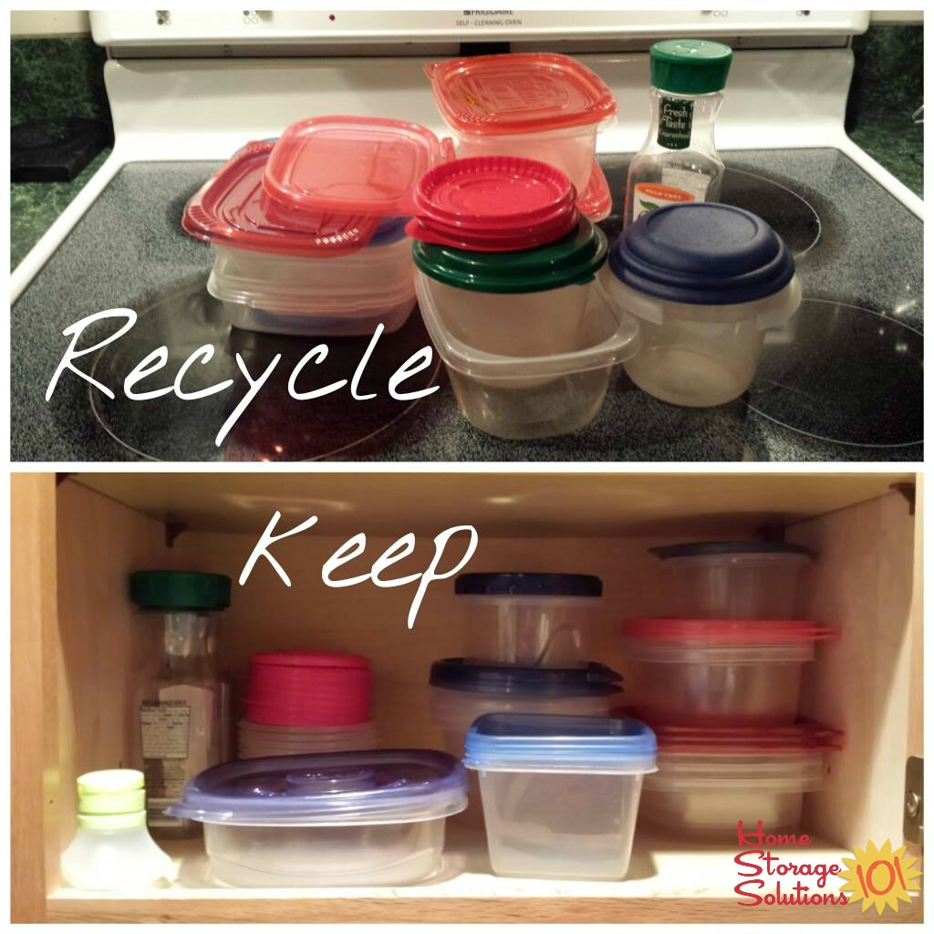 What Kelly decided to keep versus to recycle when doing the food storage containers decluttering mission on Home Storage Solutions 101
