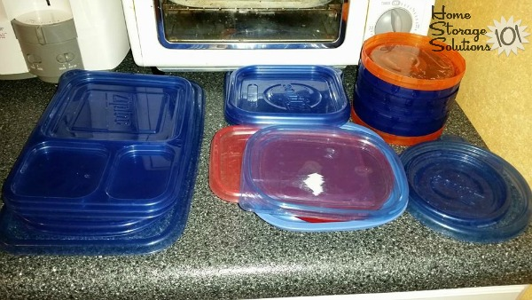 Plastic food storage containers lids decluttered as part of the #Declutter365 mission on Home Storage Solutions 101