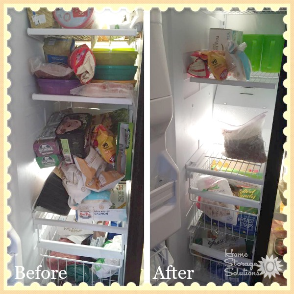 Before and after of decluttered freezer, when Cathy did the #Declutter365 mission on Home Storage Solutions 101}