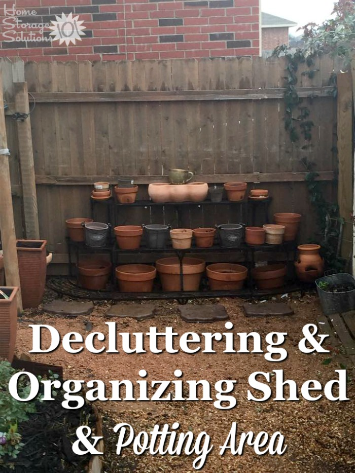 Decluttered and organized gardening potting area from a reader, Tamara, who worked on the #Declutter365 missions on Home Storage Solutions 101