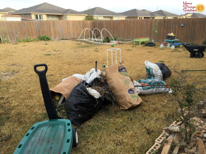 Decluttered back yard and vegetable beds as part of the Declutter Gardening Supplies, Tools & Equipment #Declutter365 mission on Home Storage Solutions 101