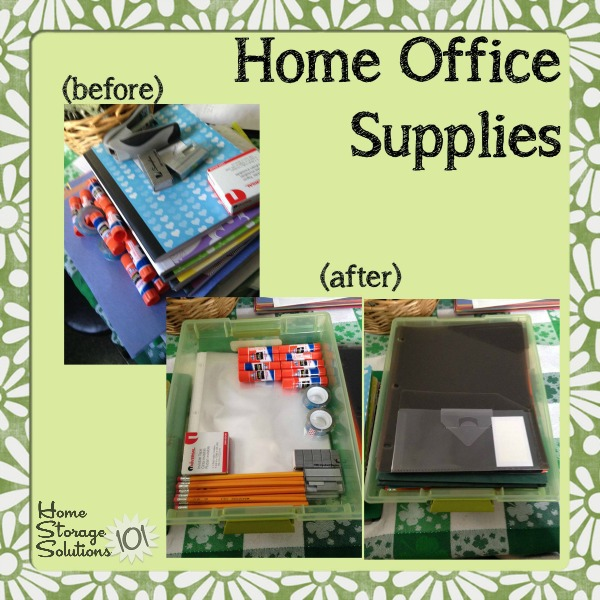 Before and after when Brandy took the Declutter Home Office Supplies  challenge on Storage 15 Minute Mission