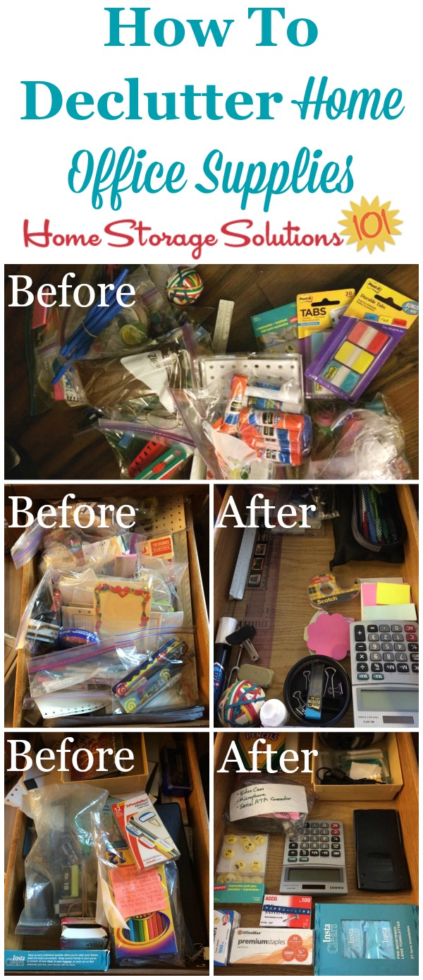 office supplies storage. How to declutter home office supplies  with instructions and before after photos from readers Declutter Home Office Supplies 15 Minute Mission