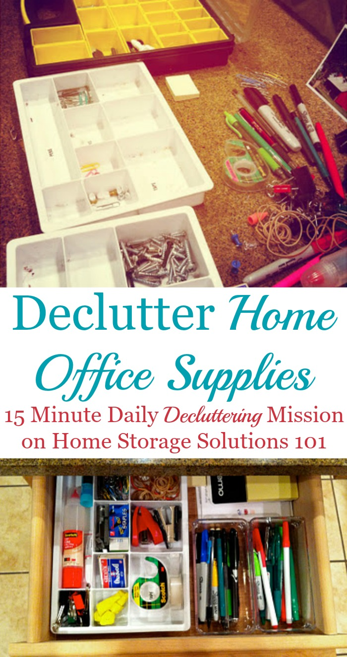 How to declutter home office supplies {one of the #Declutter365 missions on Home Storage Solutions 101} #HomeOfficeSupplies #Decluttering