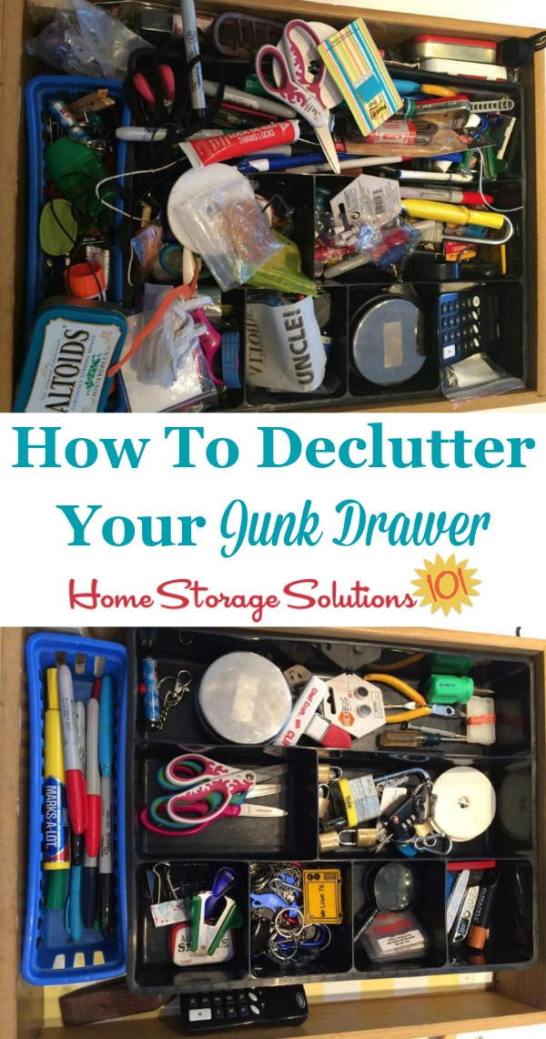 How to declutter your junk drawer so that it becomes functional and useful to you again, instead of an abyss of stuff. One of the #Declutter365 missions on Home Storage Solutions 101.