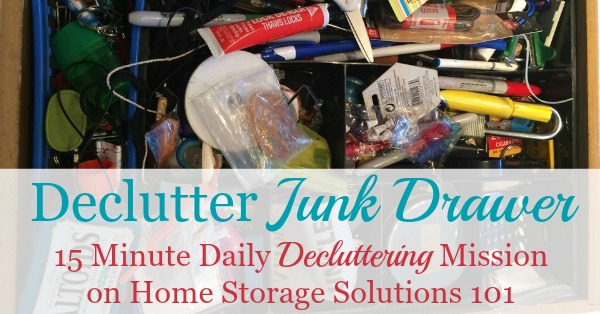 How to #declutter your junk drawer, with step by step instructions, plus lots of photos from #Declutter365 participants who've already done this mission to get you inspired {on Home Storage Solutions 101} #Decluttering