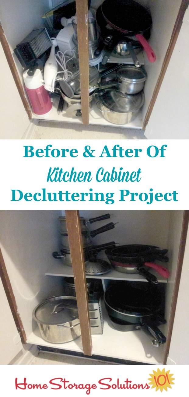 declutter kitchen cabinets kitchen cabinets Before and after of decluttered kitchen cabinets from a participant in the Declutter missions