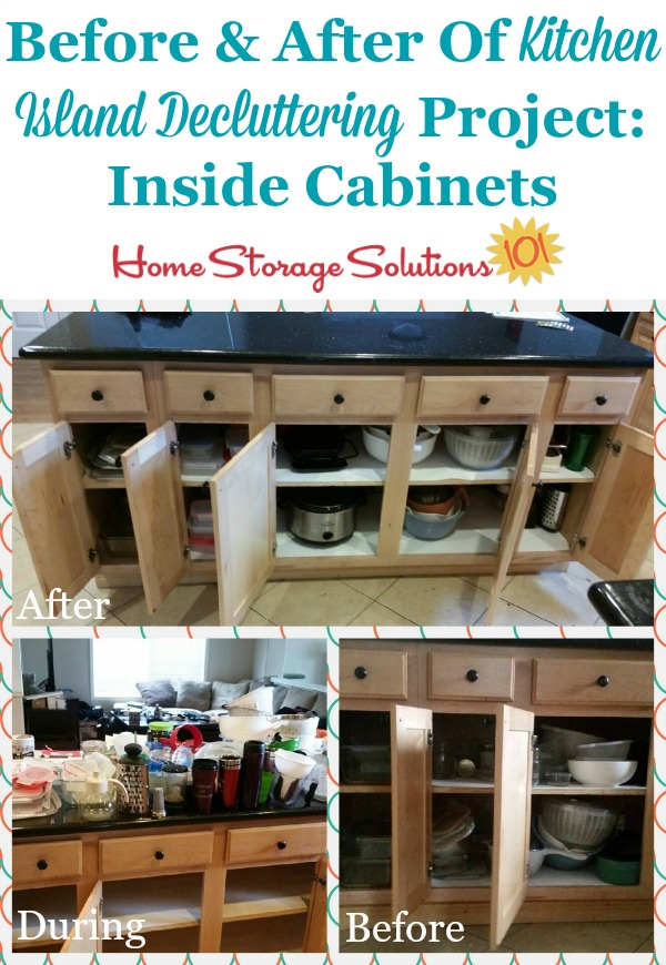 Before and after of a kitchen island decluttering project, removing clutter from storage areas inside the kitchen island {featured on Home Storage Solutions 101}