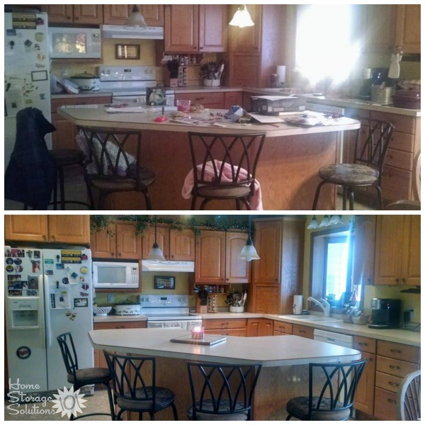 Before and after when a reader, Misty, decluttered her kitchen island as part of the #Declutter365 missions on Home Storage Solutions 101.
