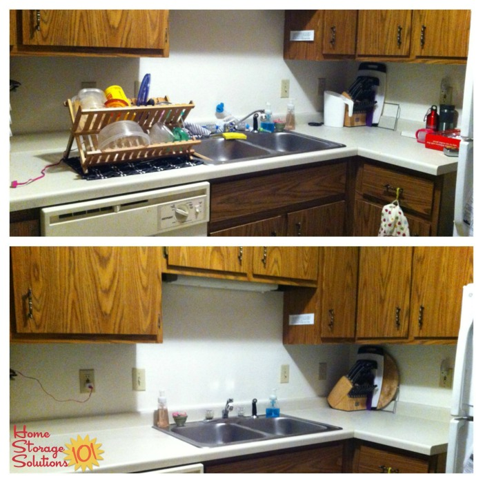 Before and after photos when decluttered kitchen sink area, including removing foldable dish drainer {on Home Storage Solutions 101} #Declutter365