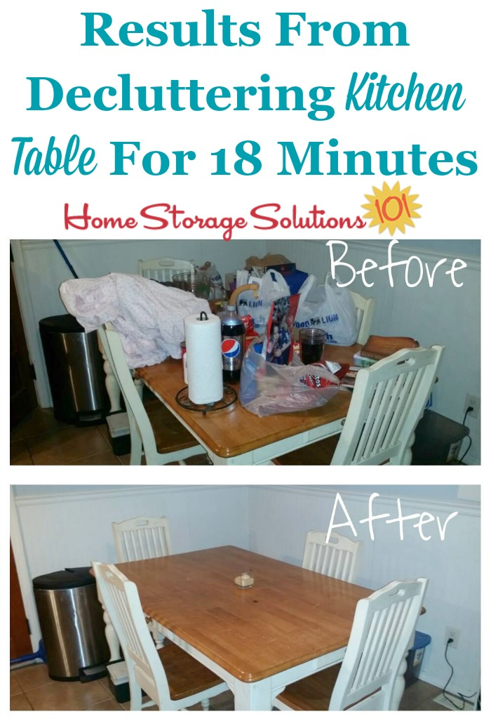 #Decluttering doesn't have to take all day, but instead you can #declutter just a few minutes at a time, like Jennifer did for her kitchen table {featured on Home Storage Solutions 101} #Declutter365