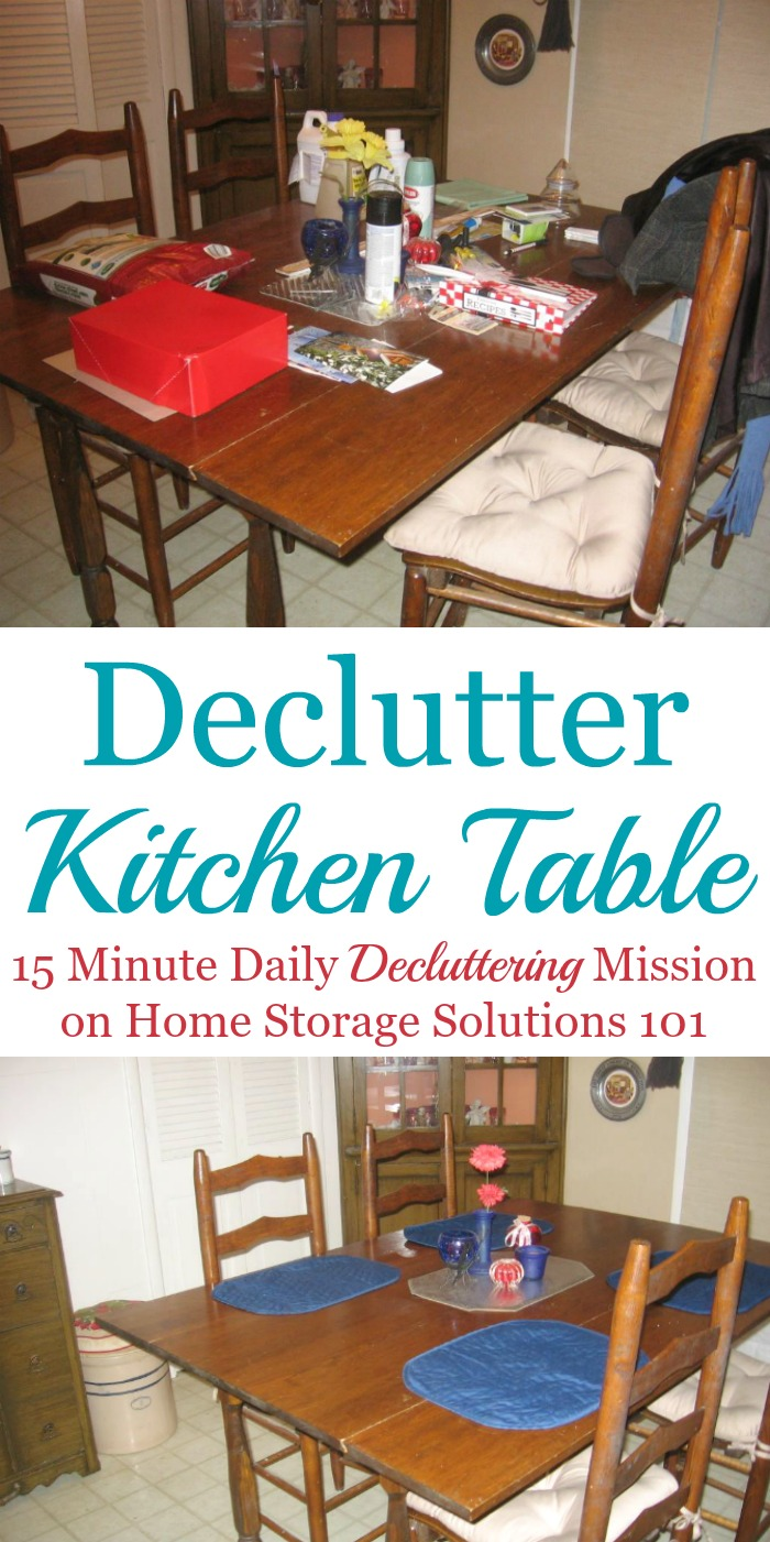 How to #declutter your kitchen table, and then make it a habit to clear it off daily from now on {one of the #Declutter365 missions on Home Storage Solutions 101} #KitchenOrganization