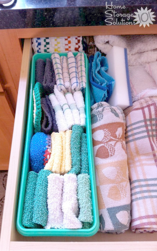 declutter kitchen towels dish cloths 15 minute mission rh home storage solutions 101 com Paper Foil Storage Drawer Kitchen Towel Organization