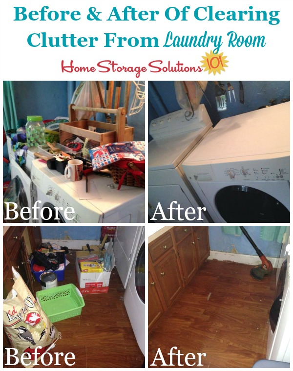 Before and after of major laundry room decluttering project {featured on Home Storage Solutions 101}