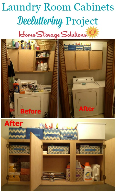 Before and after of project to declutter laundry room cabinets {featured on Home Storage Solutions 101}