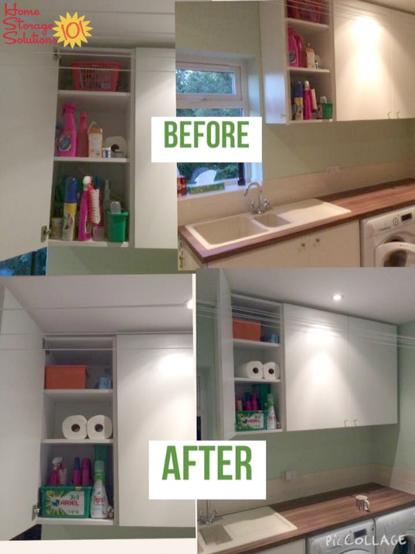 Before and after pictures when Jenny, a reader, did the #Declutter365 mission to remove clutter from laundry shelves and cabinets {on Home Storage Solutions 101}