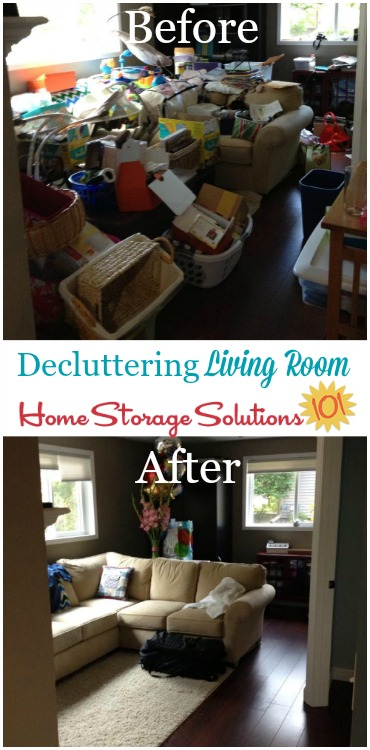 before and after of major living room declutter sessions