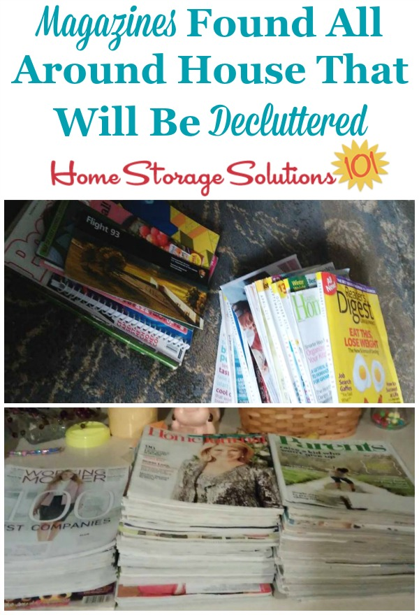 Gather up your magazines from all around your home and once you see how many you've really got it will motivate you declutter them! {featured on Home Storage Solutions 101}