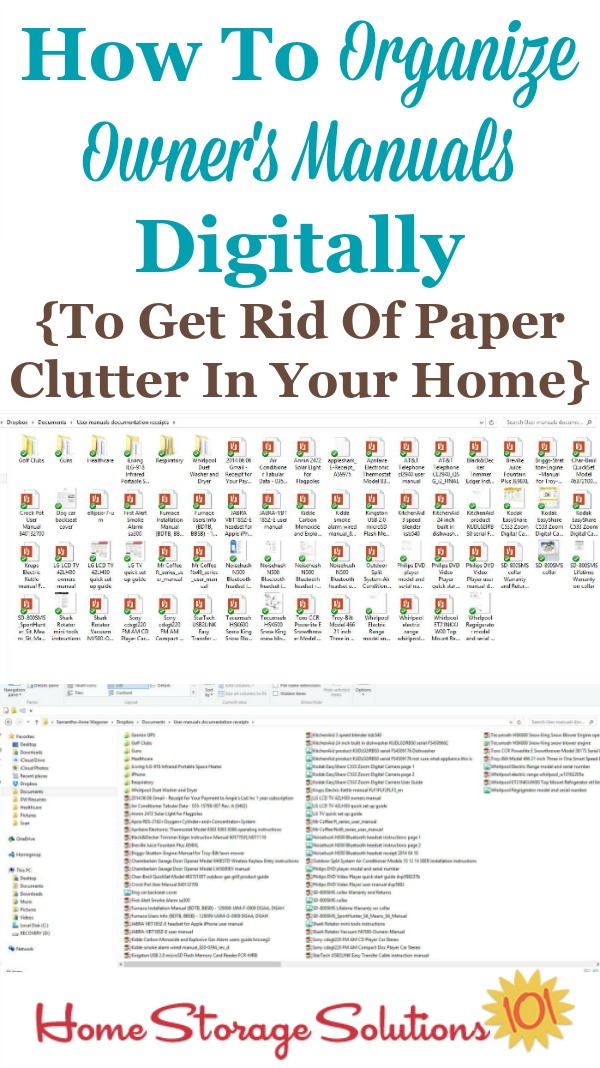 How to organize owner's manuals digitally so that you can get rid of even more paper clutter in your home {featured on Home Storage Solutions 101} #OrganizeManuals #OwnersManuals #PaperClutter