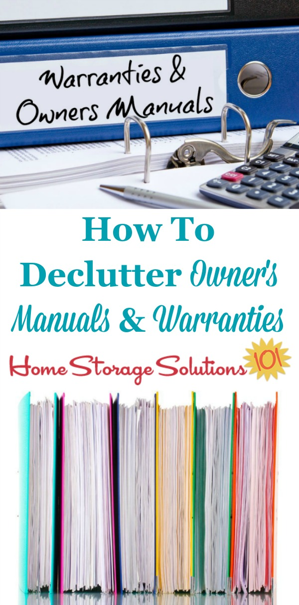 How to declutter owner's manuals and warranty documents, including what to keep versus to get rid of, and also tips for digitally organizing these manuals so you can get rid of even more paper clutter {on Home Storage Solutions 101} #Declutter365 #DeclutterPaper #PaperClutter