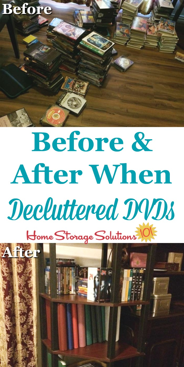 Before and after photos from a reader, Dora, who did the #Declutter365 mission to #declutter DVDs and other movies {on Home Storage Solutions 101} #decluttering