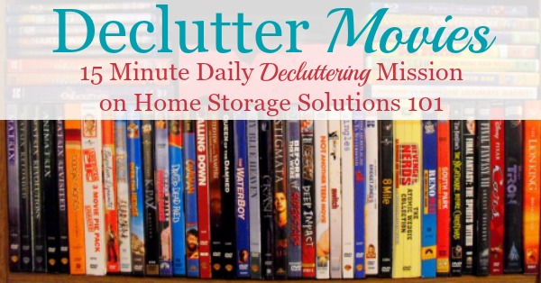 How to #declutter movies and videos from your collection, in whatever form such as DVDs, Blu-rays, VHS video tapes, and even digital copies {part of the #Declutter365 missions on Home Storage Solutions 101} #decluttering